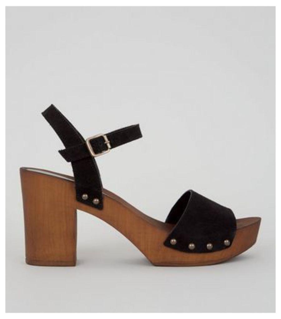 Black Suede Wooden Platform Block Heeled Clogs