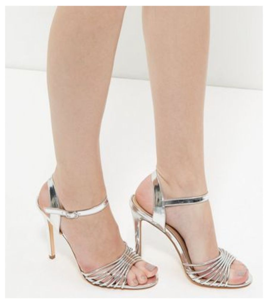 Silver Strappy Heeled Sandals