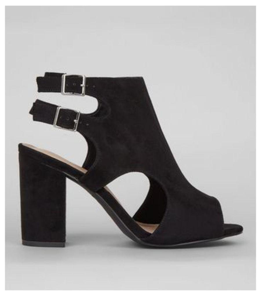 Wide Fit Black Comfort Suedette Double Strap Sling Back Heels