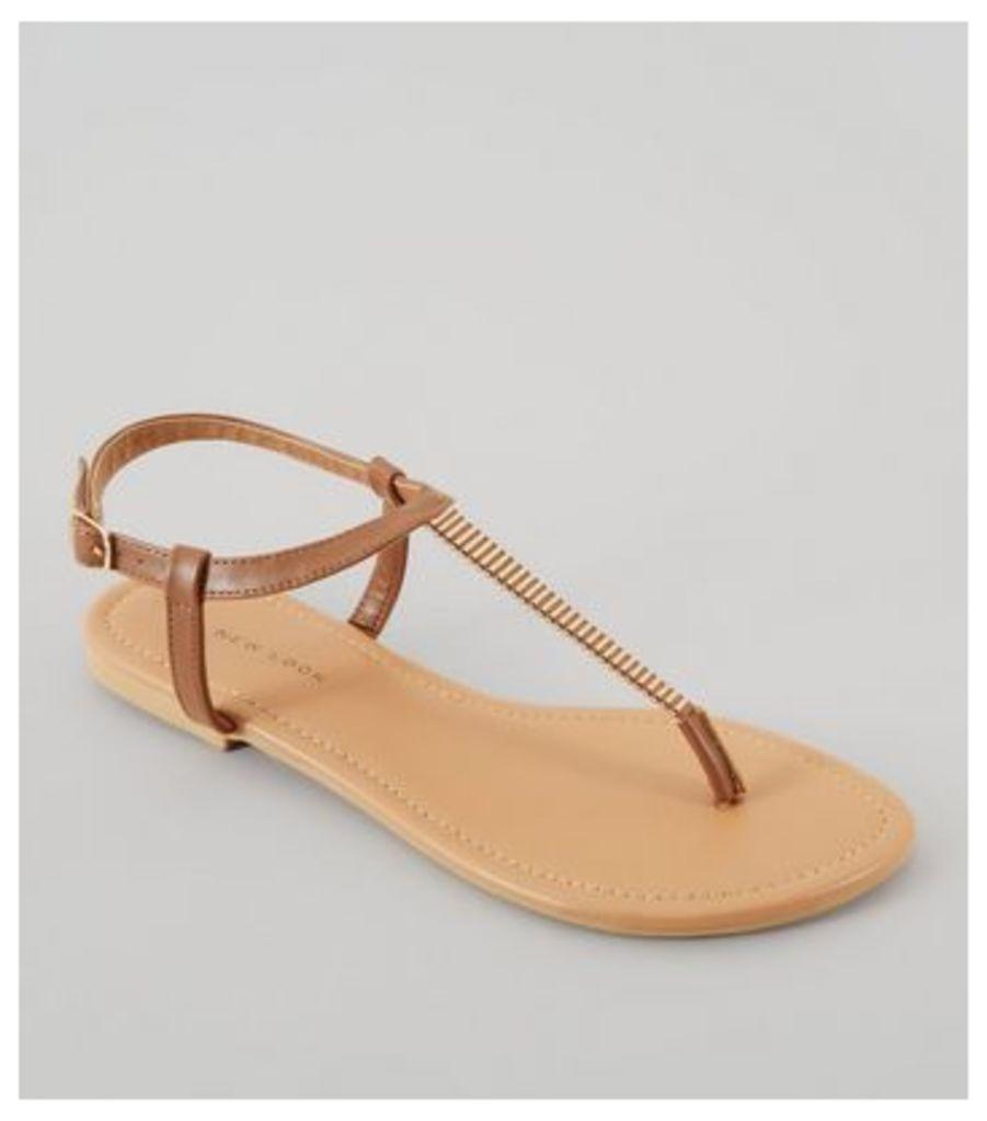 Wide Fit Tan Metal Trim Toe Post Sandals