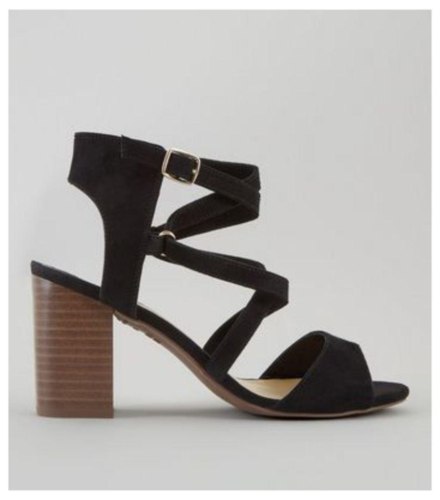Wide Fit Black Suedette Cross Strap Heeled Sandals