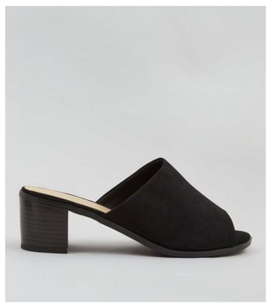 Wide Fit Black Suedette Mules