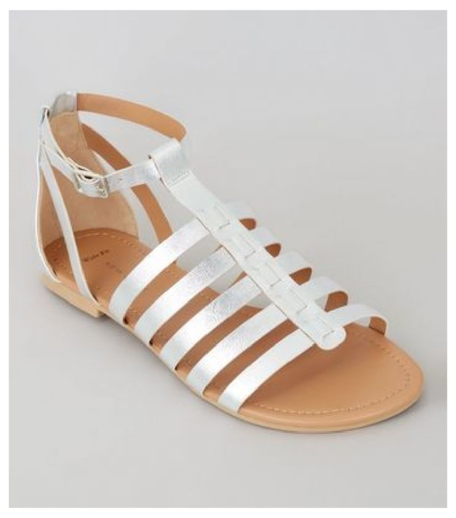 Wide Fit Silver Gladiator Sandals