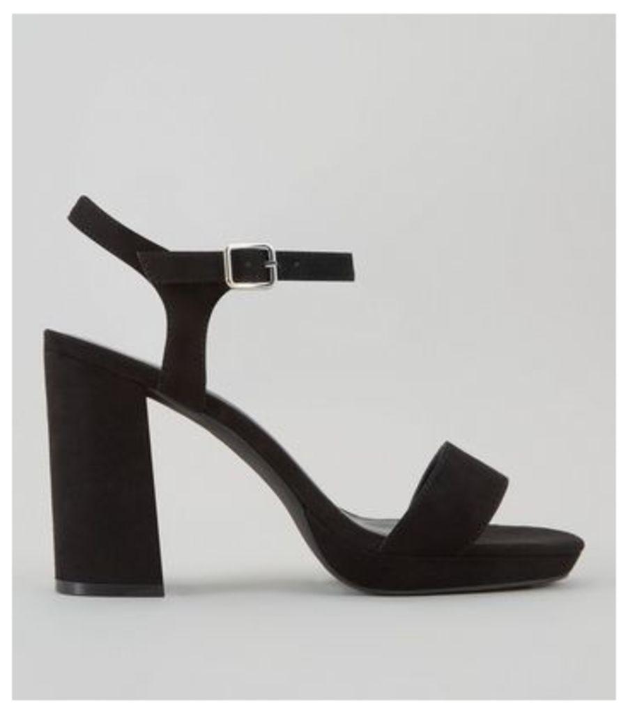 Wide Fit Black Suedette Platform Heels