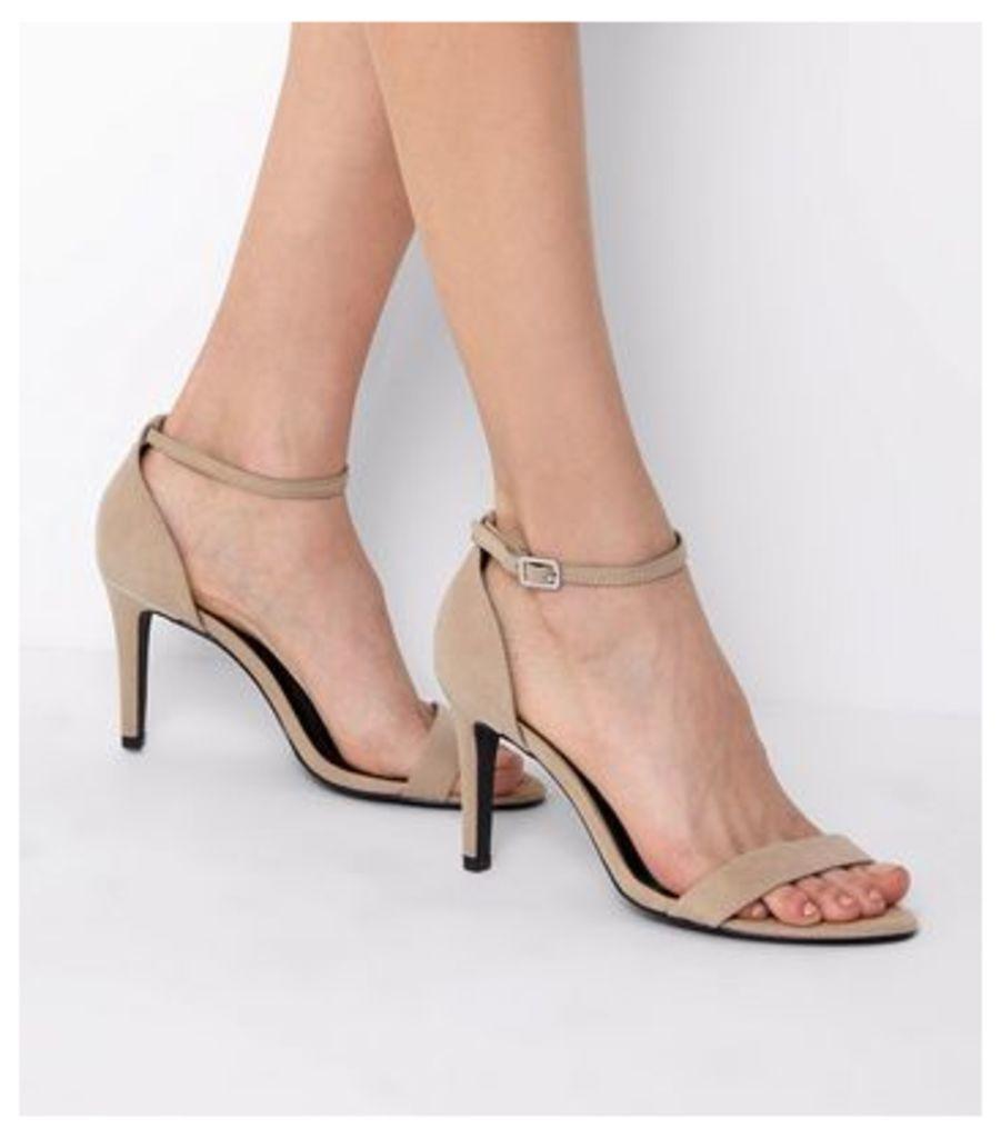 Wide Fit Mink Suedette Metal Trim Ankle Strap Heels