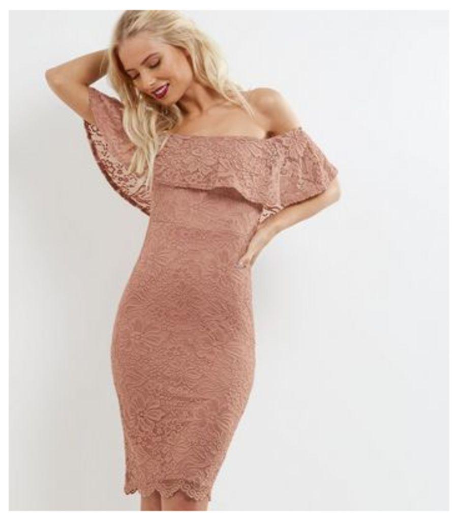 Shell Pink Lace Frill Trim Bardot Neck Bodycon Dress