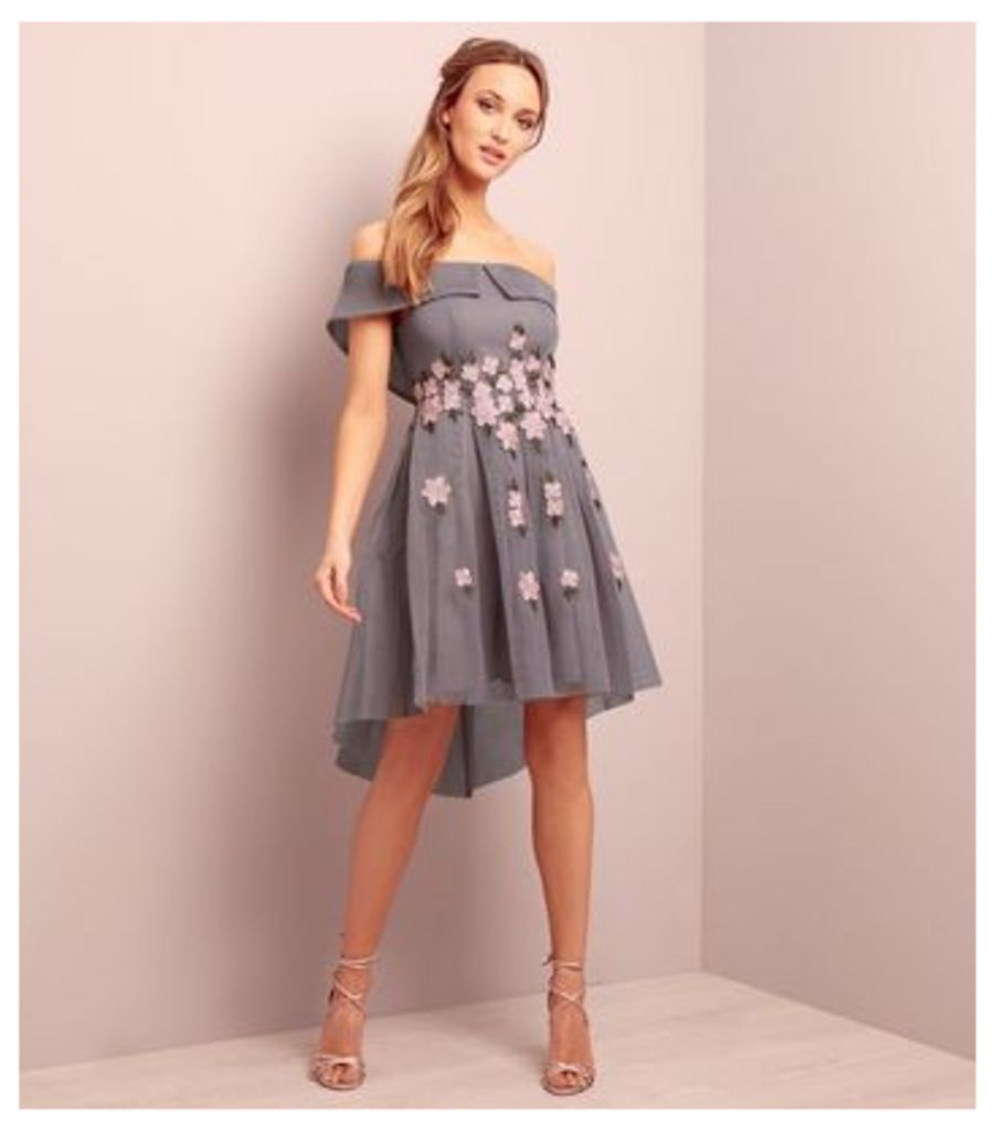 Grey Premium Bardot Neck Floral Embroidered Mesh Dress