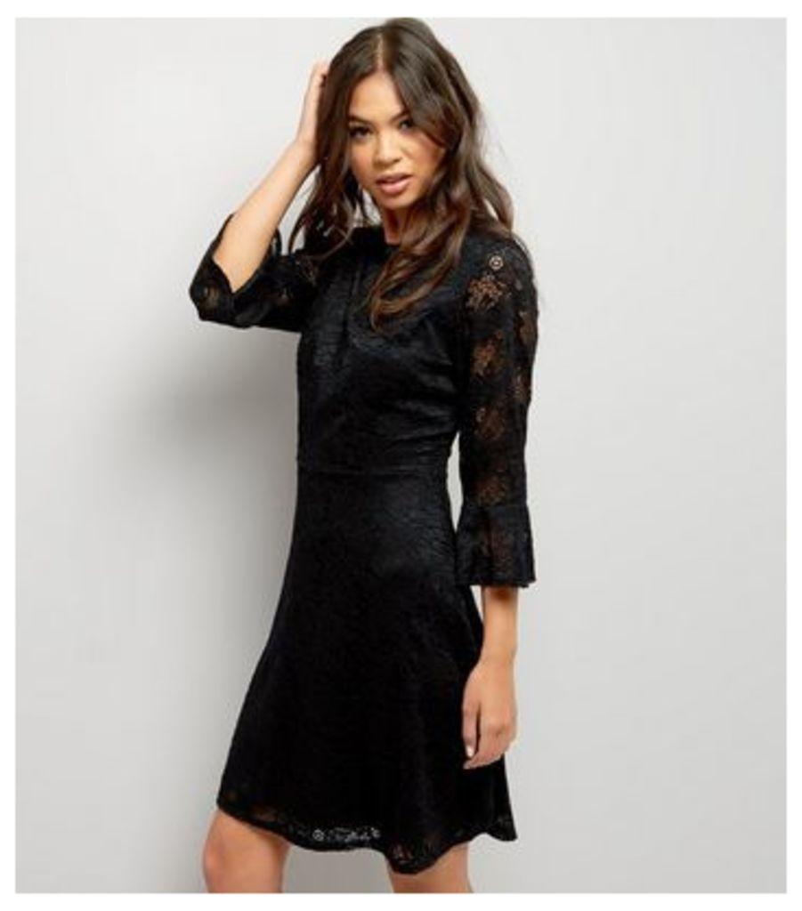 Black Lace Bell Sleeve Skater Dress