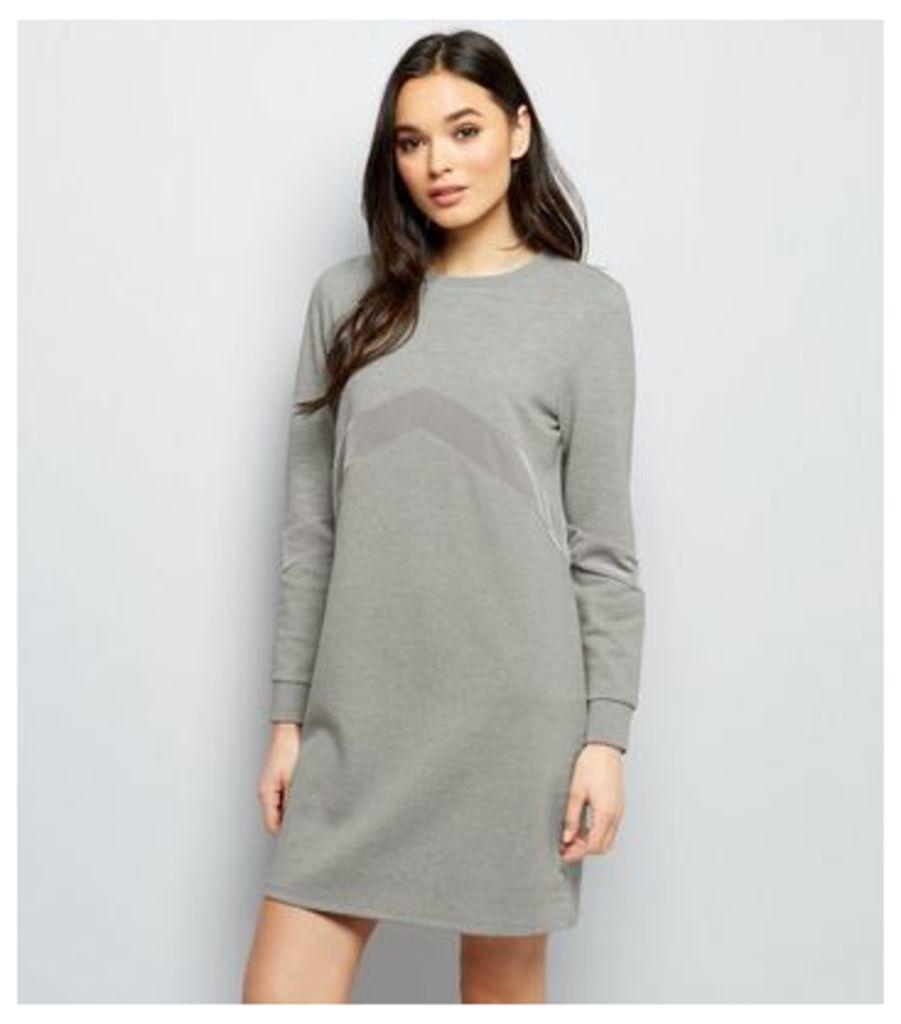 Grey Chevron Velvet Panel T-Shirt Dress