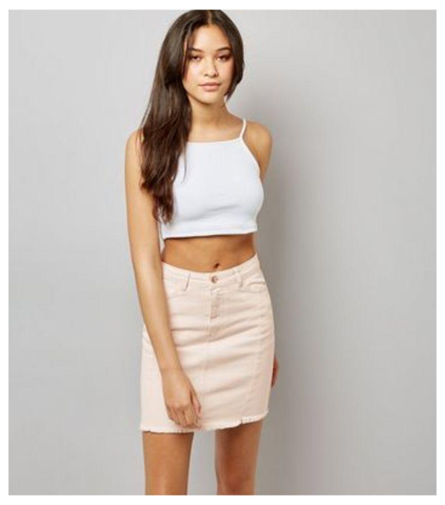 Pink Denim Frayed Hem Skirt