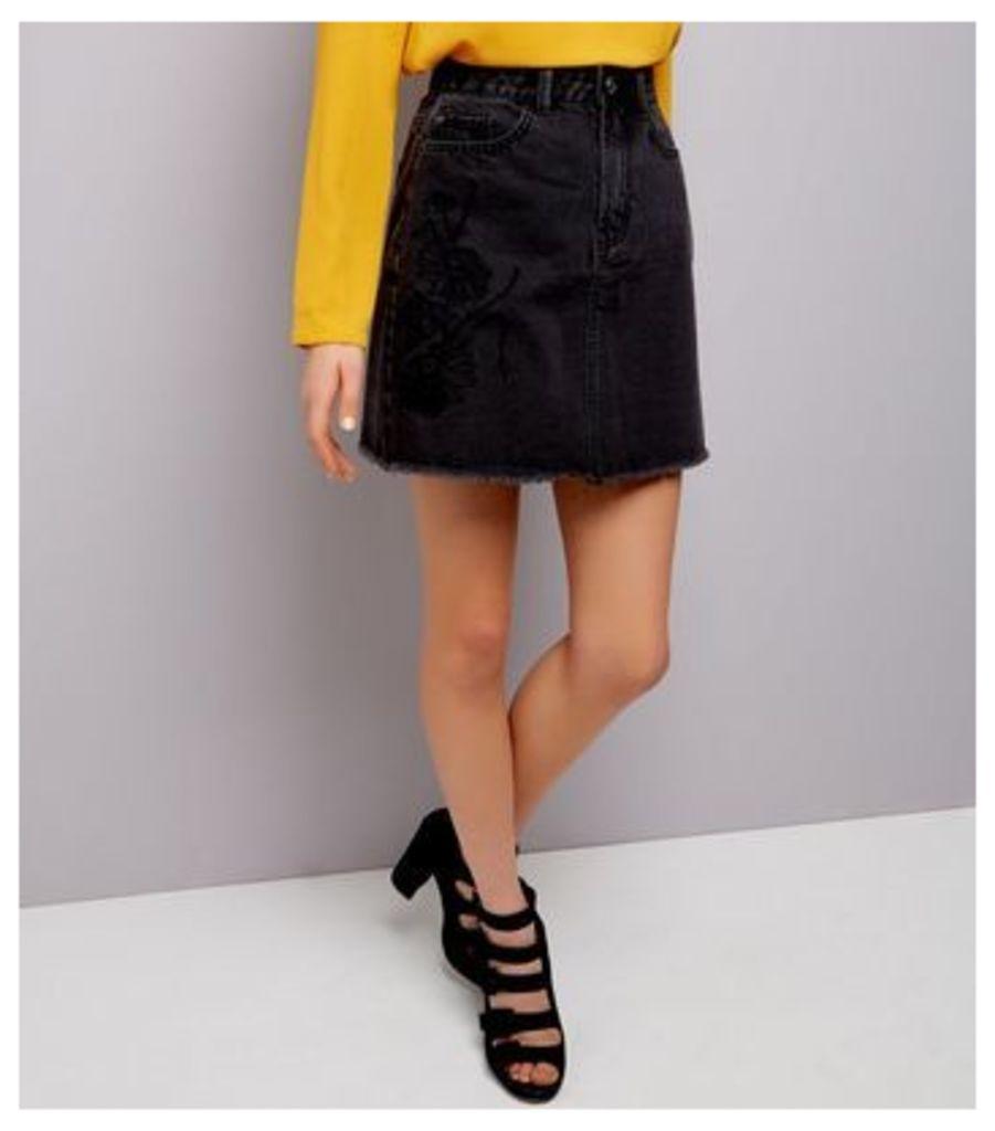 Black Floral Embroidered Denim Skirt