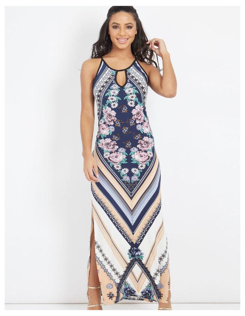 TORY - Diamond Floral Print Maxi Dress Navy