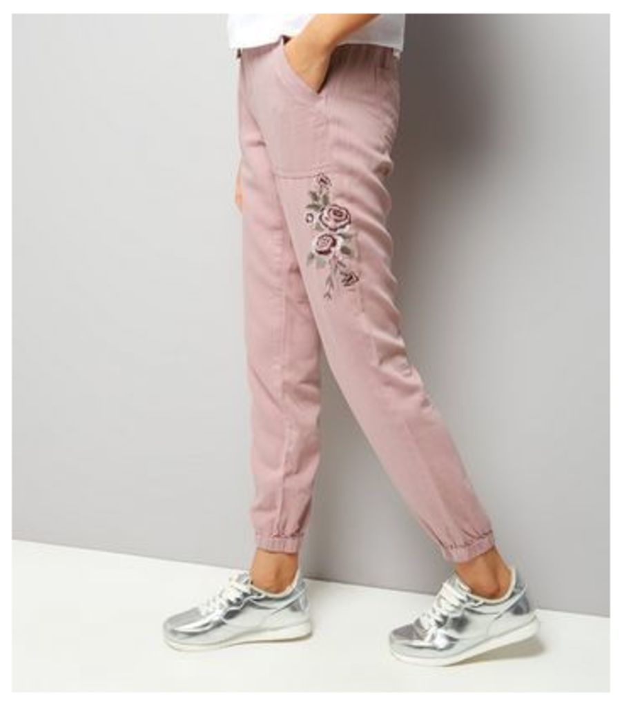 Pink Rose Embroidered Joggers