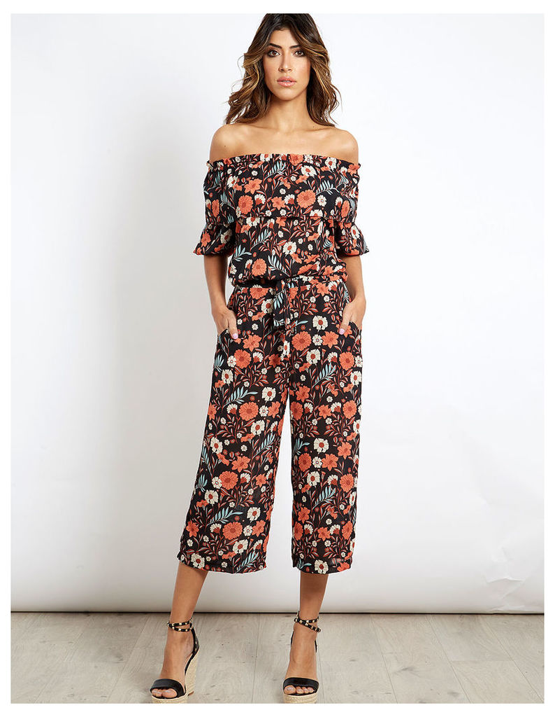 KASEY - Floral Print Culotes Red