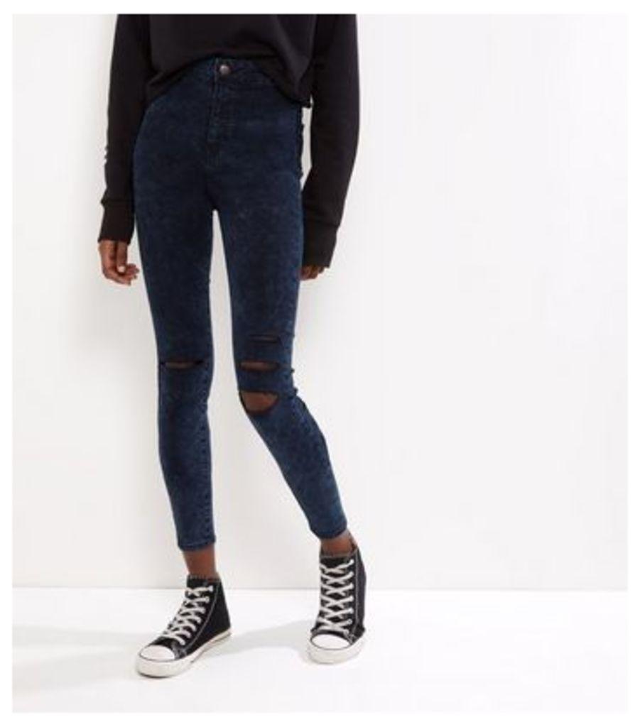 Navy High Waist Ripped Knee Skinny Hallie Jeans