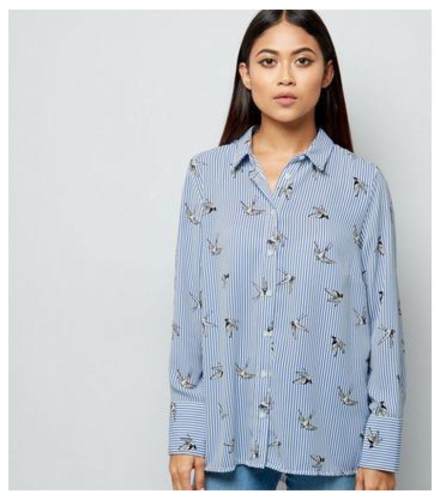 Petite Blue Stripe Bird Print Shirt