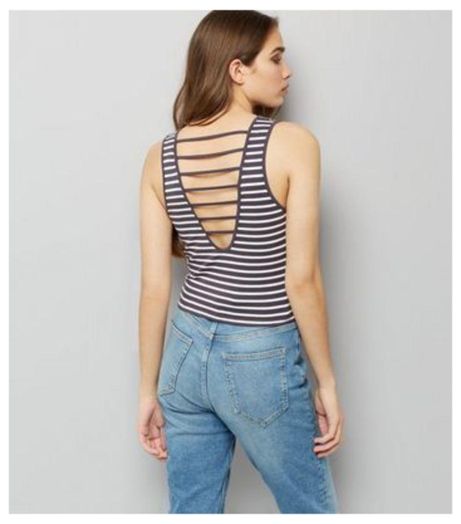 Black Strappy Back Stripe Vest