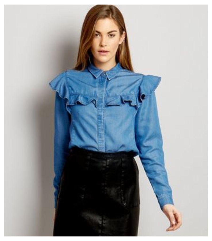 Blue Denim Frill Trim Shirt