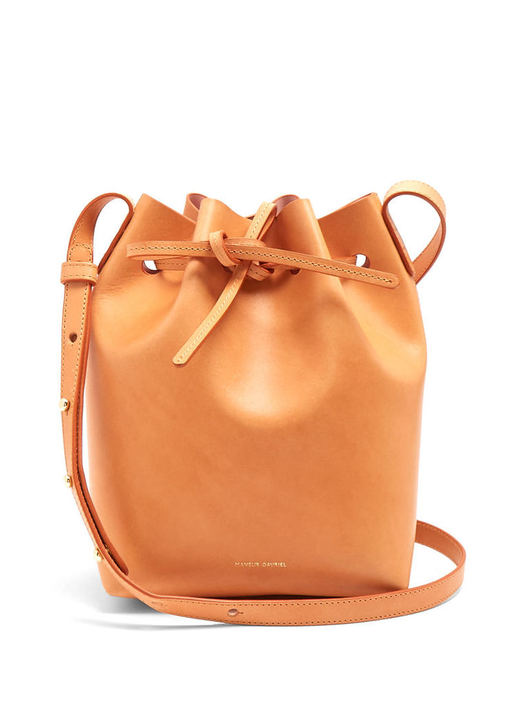 Pink-lined Mini leather bucket bag