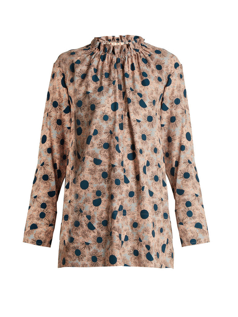 Grasses-print ruffled-neck twill blouse
