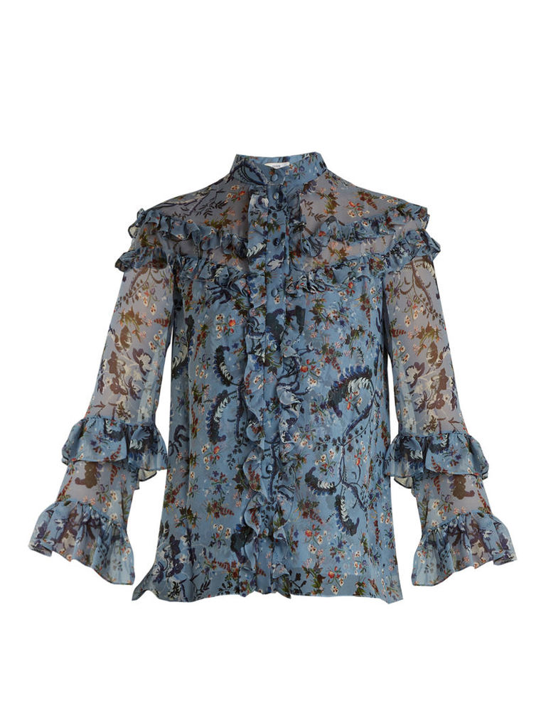 Margery Paisley Vine-print ruffled silk blouse