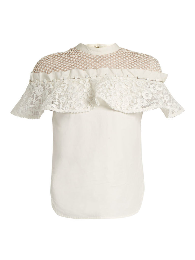 Hudson ruffled lace-panel cotton top