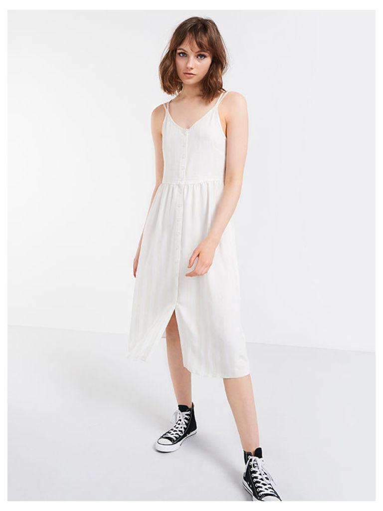 Cream Stripe Button Through Strappy Midi Dress