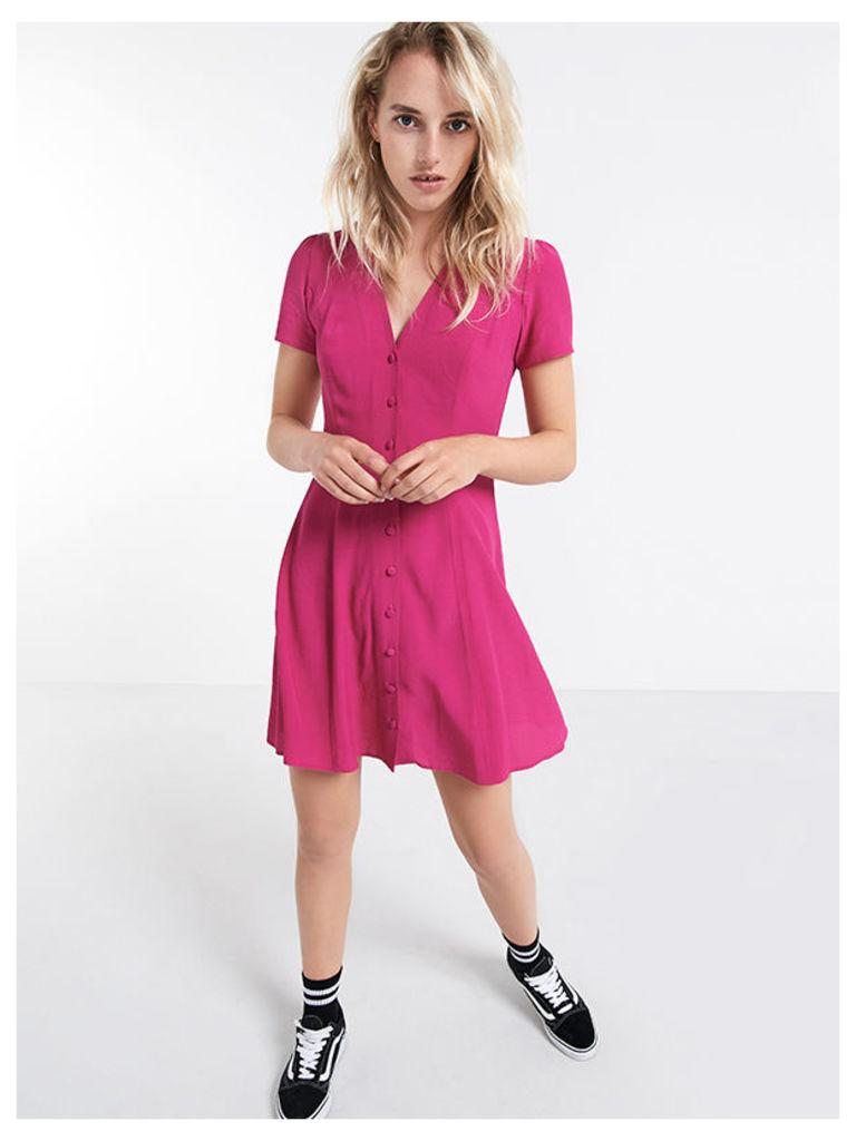 Pink Button Through Waist Tea Dress