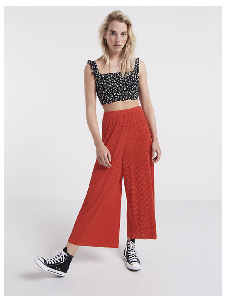 Red Plisse Culottes
