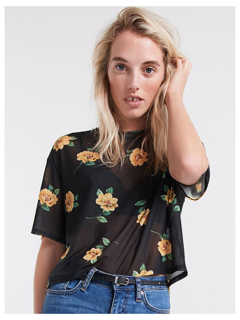Black Lou Lou Boxy Floral Mesh T-Shirt