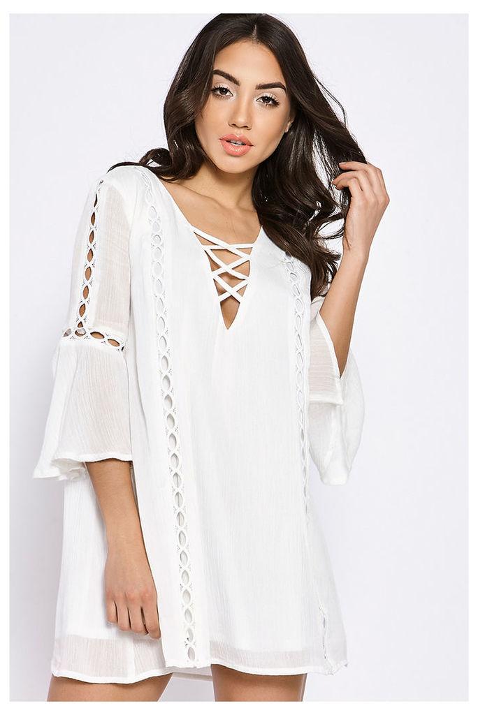 White Dresses - Binky White Lattice Front Trim Swing Dress