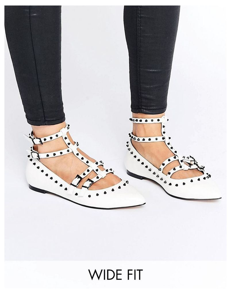 ASOS LOOKING GOOD Wide Fit Studded Ballet Flats - White