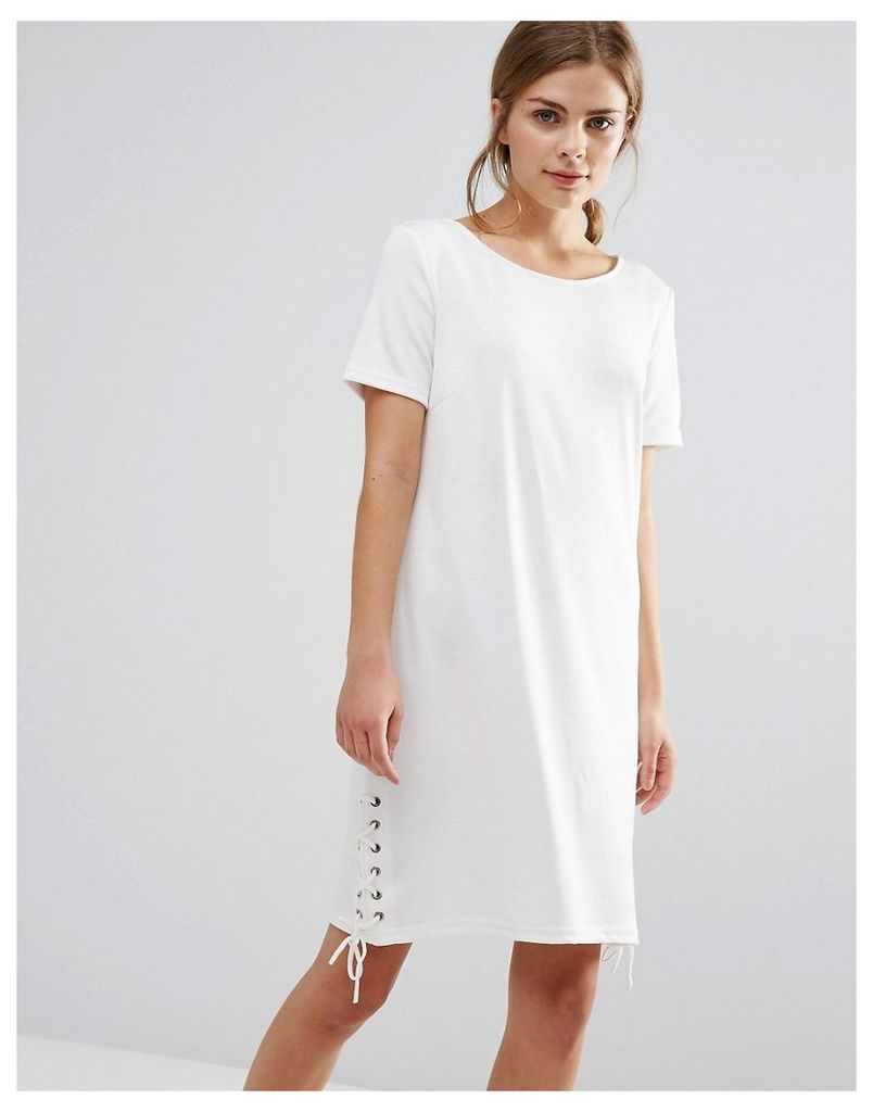 Vila Shift Dress With Tie Detail - Snow white