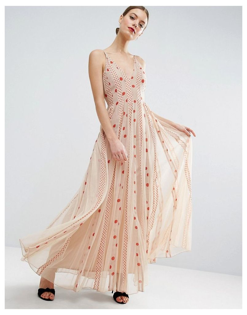 ASOS Spot Cami Mesh Fit and Flare Maxi Dress - Nude