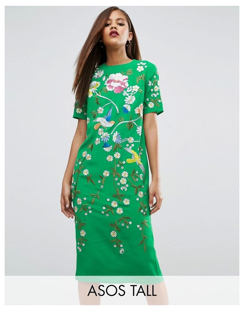 ASOS TALL Bird & Floral Embroidered Shift Dress - Multi