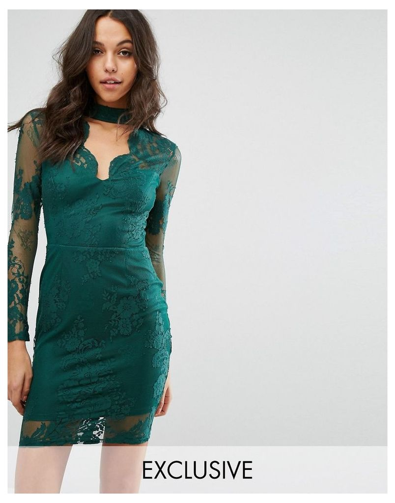 Michelle Keegan Loves Lipsy Lace Bodycon Dress With Plunge Neck - Green