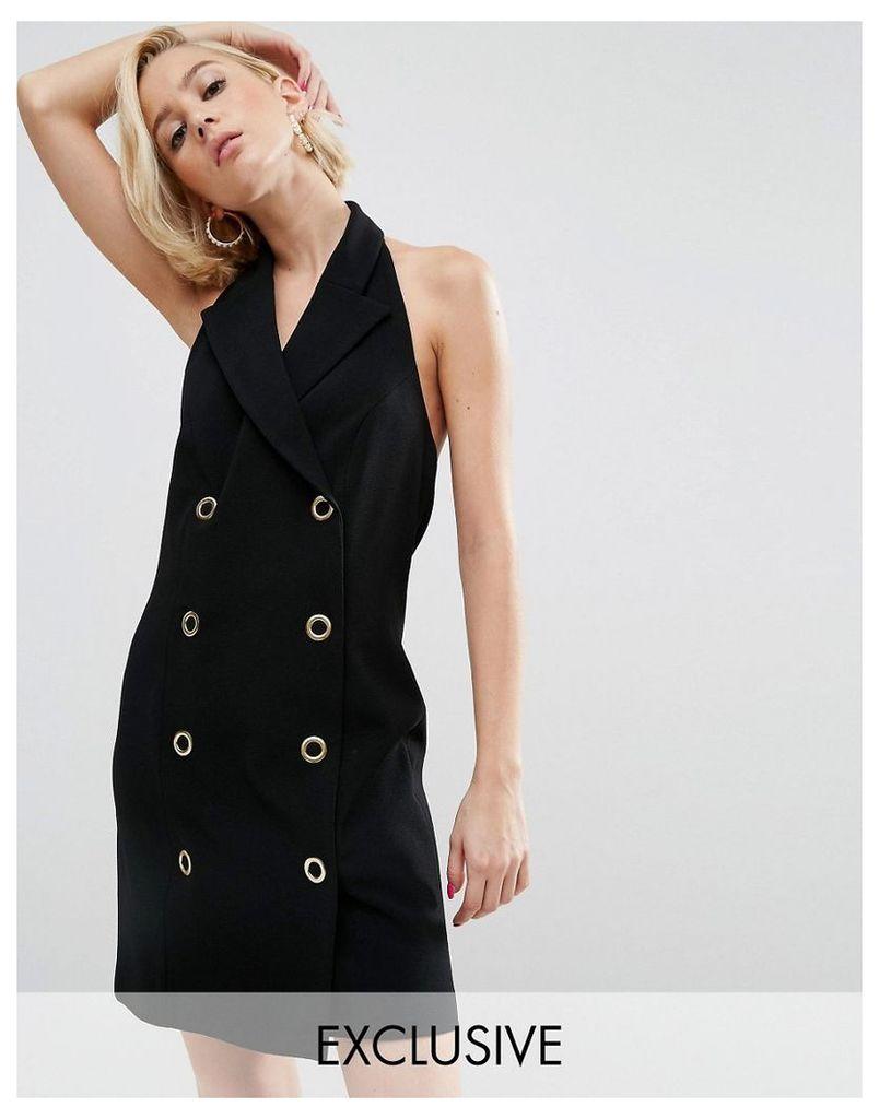 WAH LONDON x ASOS Halter Neck Blazer Dress - Black