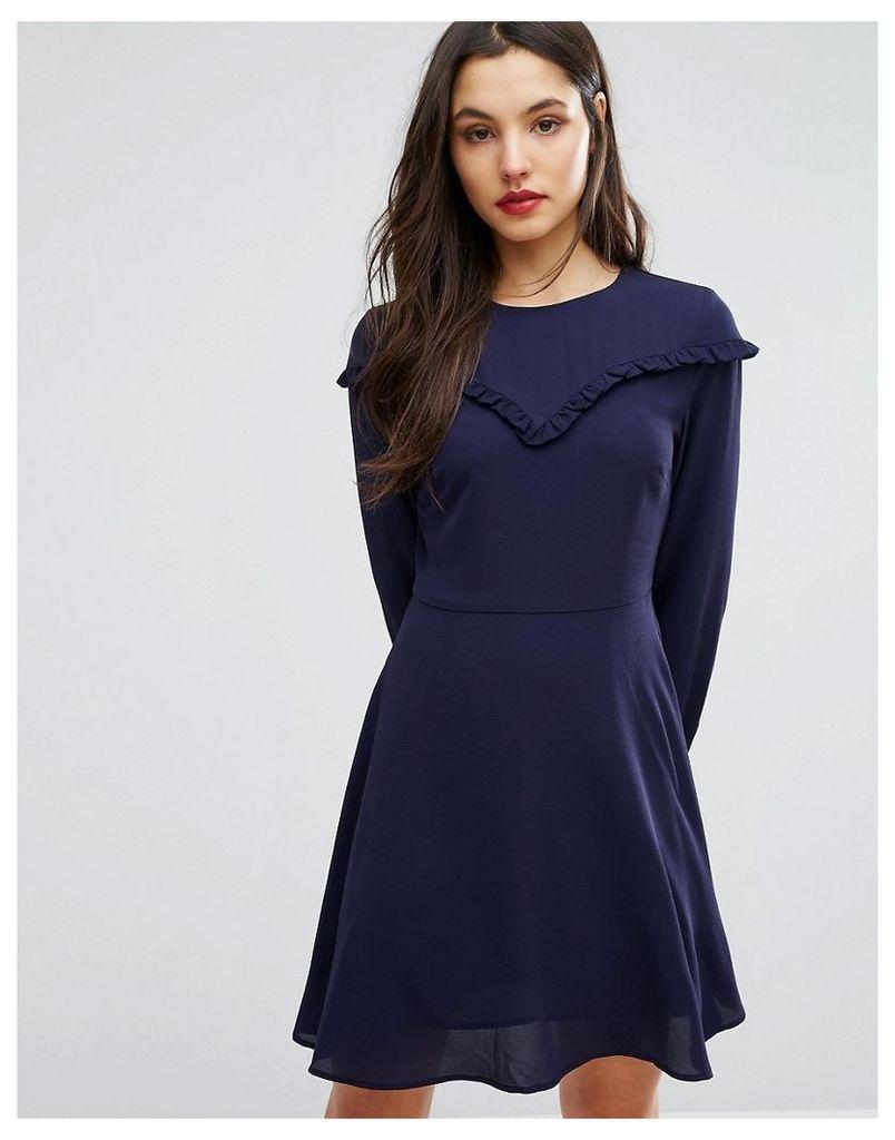 New Look Ruffle Bib Smock Dress - Navy