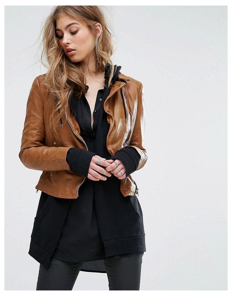 Muubaa Contrast Zip Biker Jacket - Cognac