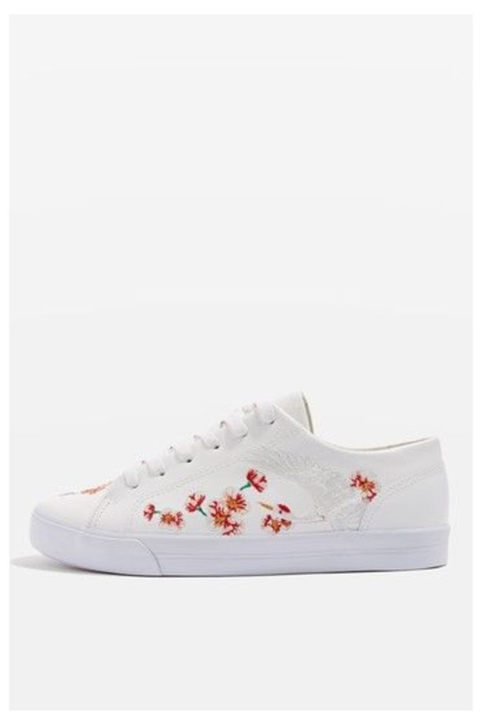 Womens TULIP Embroidered Trainers - White, White