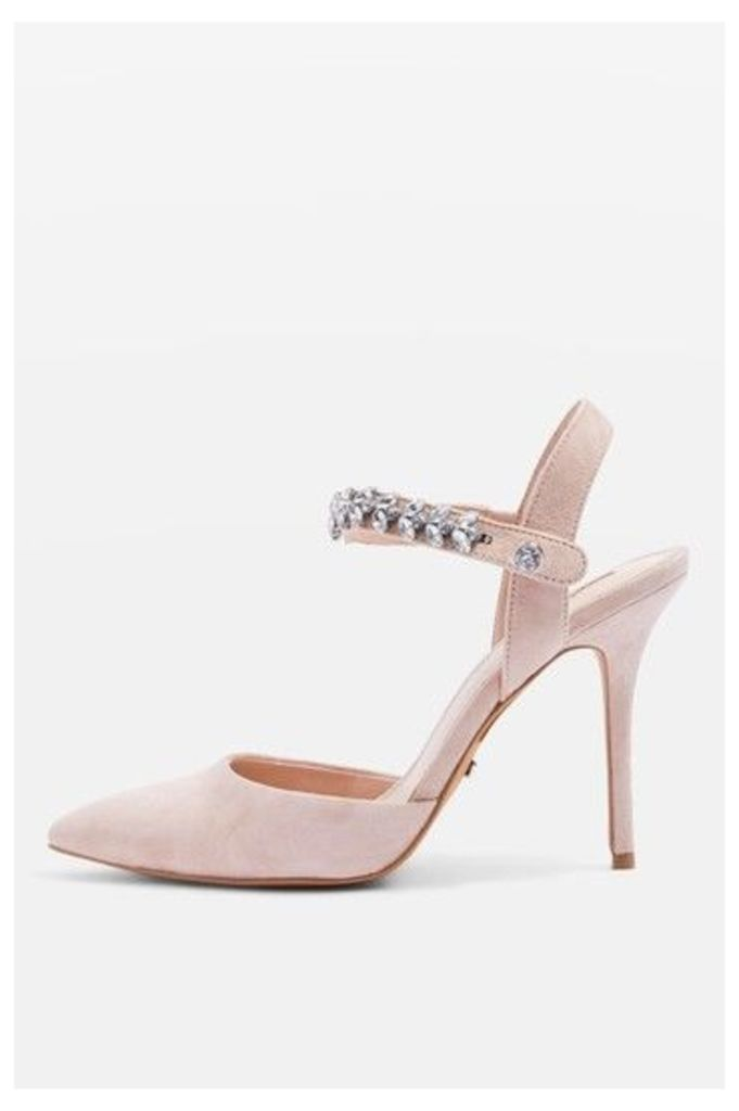 Womens GEM Embellished Court Shoes - Nude, Nude
