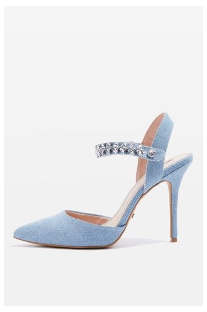 Womens GEM Embellished Court Shoes - Denim, Denim