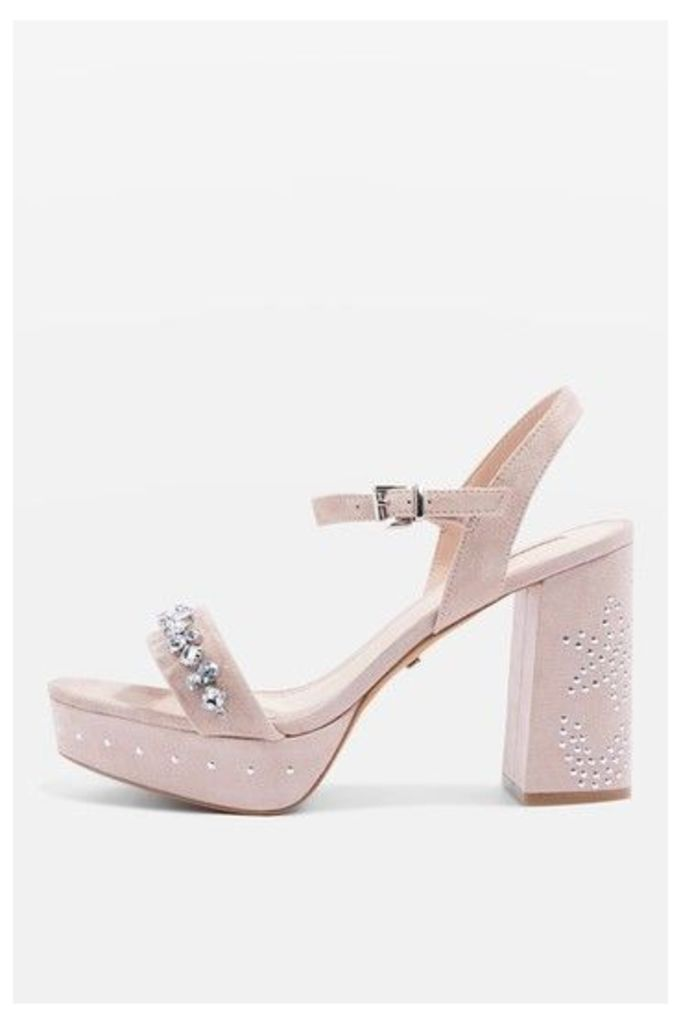 Womens LOVELY Jewel Front Platform Shoes - Nude, Nude