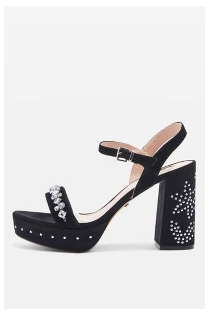 Womens LOVELY Jewel Front Platform Shoes - Black, Black
