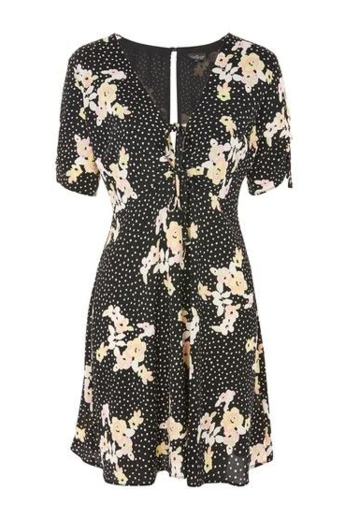 Womens TALL Spot And Floral Tea Dress - Black, Black