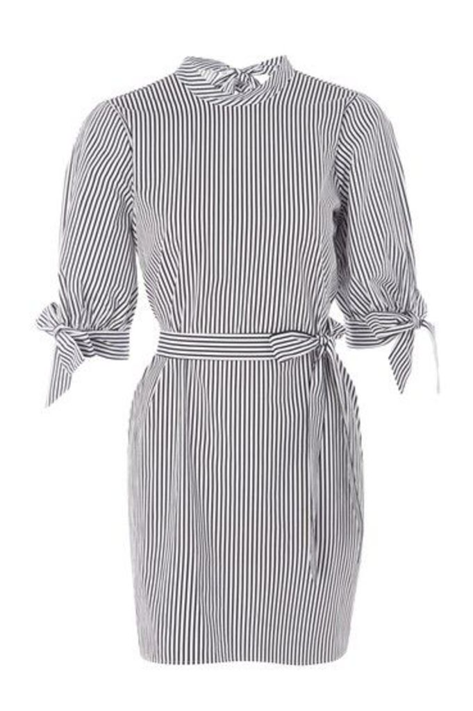 Womens Stripe Poplin High Neck Shirt Dress - Monochrome, Monochrome