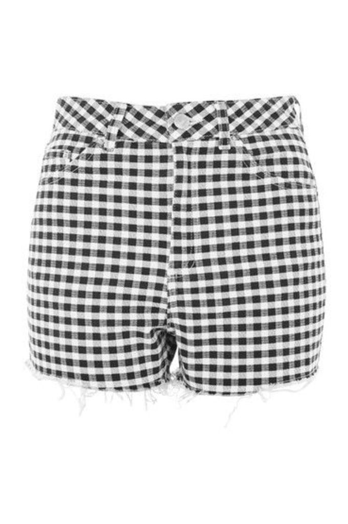 Womens MOTO High Rise Gingham Shorts - Monochrome, Monochrome