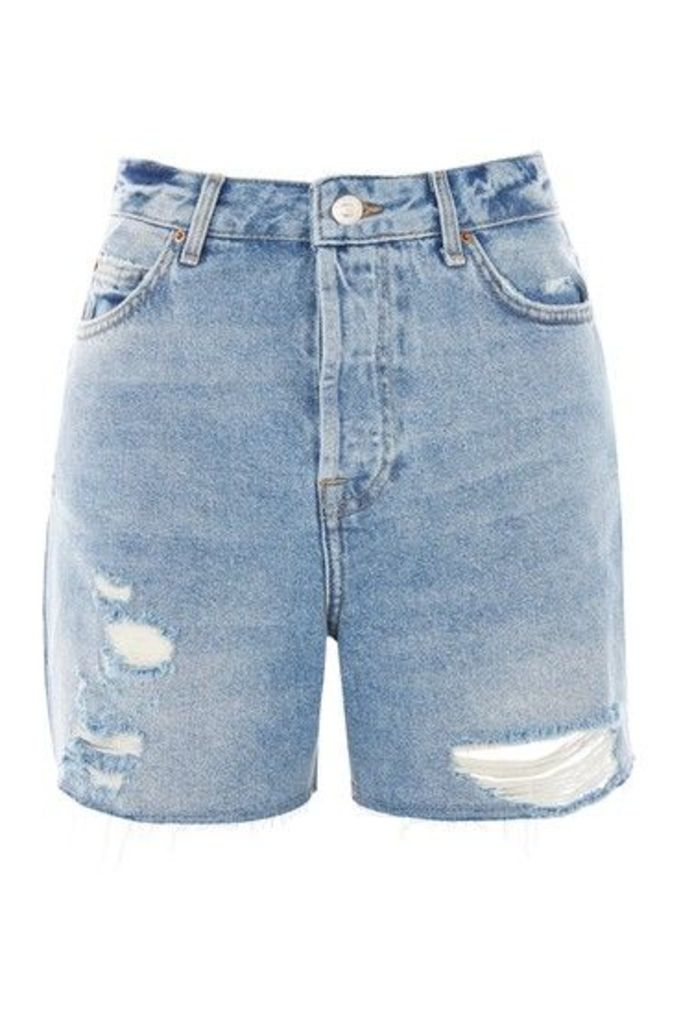 Womens TALL Bleach Ripped Ashley Shorts - Bleach Denim, Bleach Denim