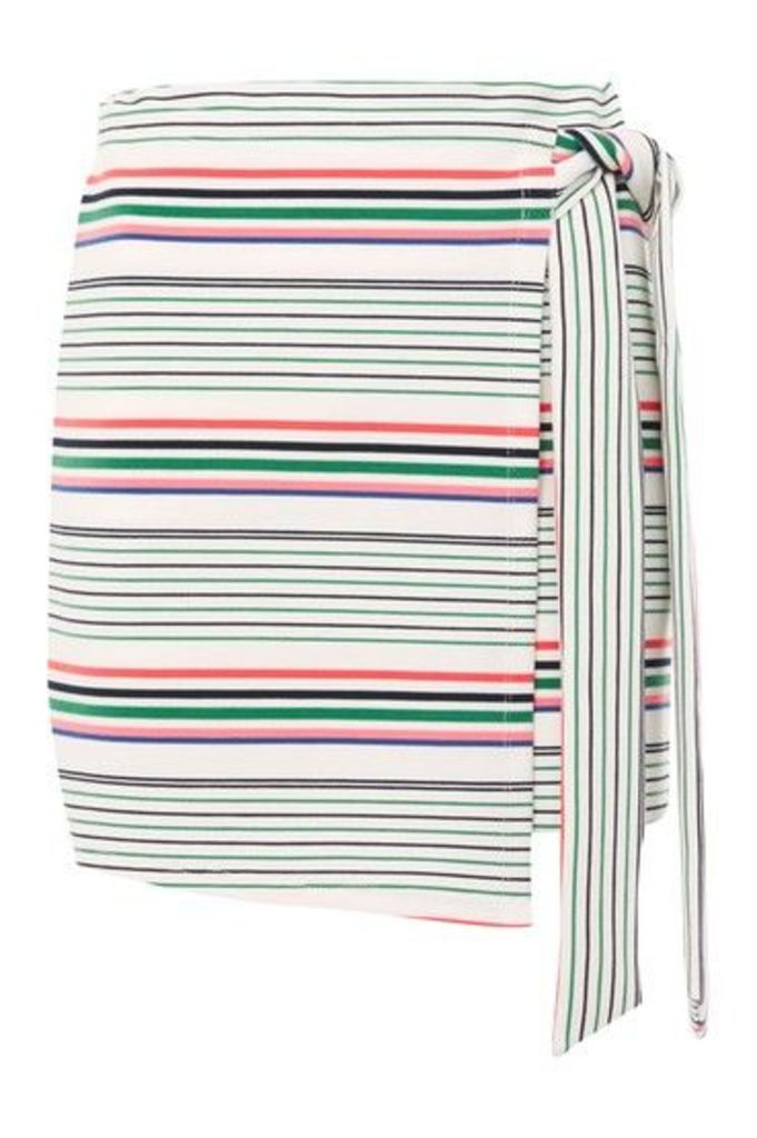 Womens Bright Stripe Wrap Skirt - White, White