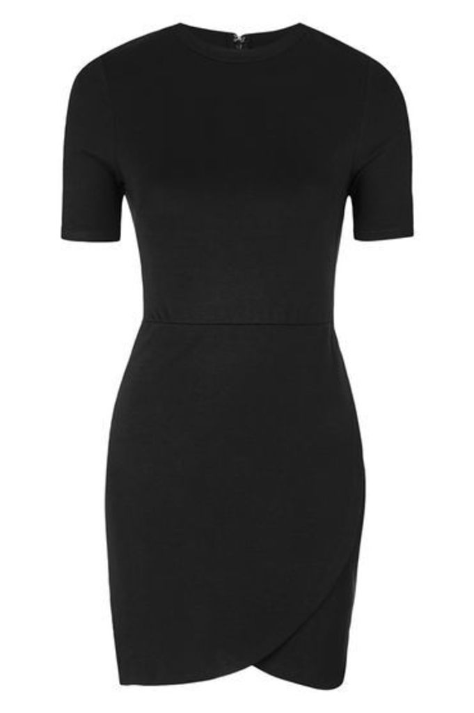 Womens PETITE Wrap Front Bodycon Dress - Black, Black